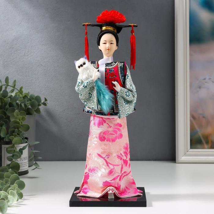 """Кукла коллекционная """"Китаянка в национальном платье с собакой"""" 32х12,5х12,5 см - фото 2218212"""
