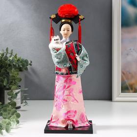 """Кукла коллекционная """"Китаянка в национальном платье с собакой"""" 32х12,5х12,5 см - фото 2218213"""