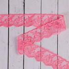 Кружево для свадебного декора, ширина 4 см длина 3 м, цвет ярко-розовый
