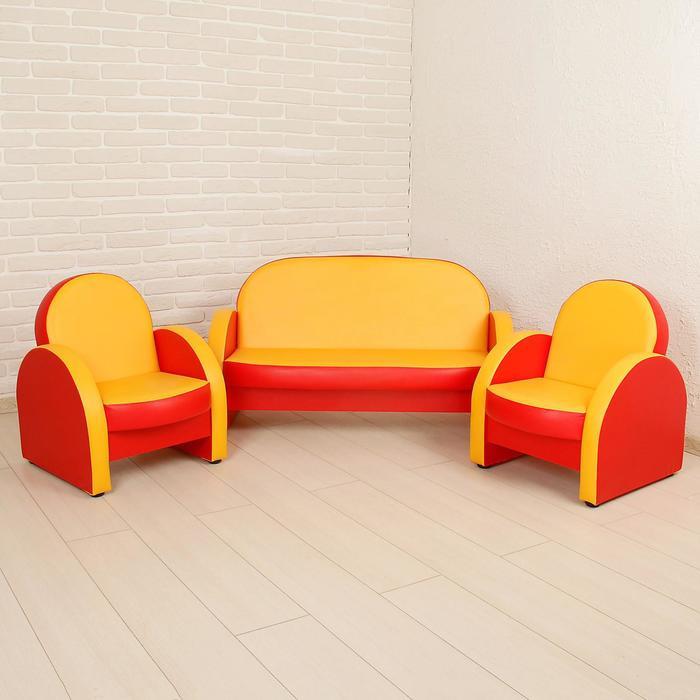 "Комплект мягкой мебели ""Агата"", красно-жёлтый"