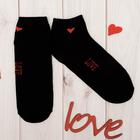 """Носки женские короткие Collorista """"Love"""", чёрные. р-р 23-25, хл 80%, п/а 17%, эл 3%"""
