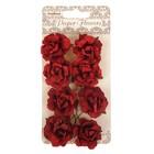 Цветы кудрявой розы из бумаги (набор 8 шт) бордовые