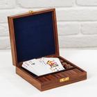 """Шкатулка дерево """"Набор игр"""" (домино, карты, шахматы) 16,5х16,5х5 см"""