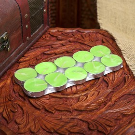 The candle set in the socket platinum 10 PCs green tea and fruit 18,5x7,5x1,2 cm