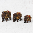 "Сувенир дерево ""Семья слонов"" 7,5х25х5 см (набор 3 штуки)"