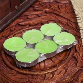 """Набор свечи в гильзе """"Платинум"""" 6 шт зелёный чай и фрукты 10х6х1 см"""