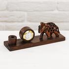 """Подставка под ручку с часами дерево """"Слон"""" 7х19х5,5 см"""