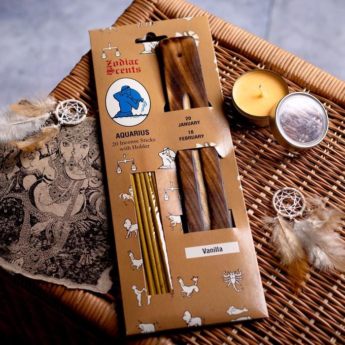 """Ароманабор ароматы зодиаков """"Водолей"""" (20 палочек с деревянной подставкой)"""