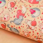 Бумага упаковочная крафт «Влюблённые коты», 50 х 70 см