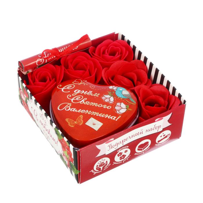 """Подарочный набор """"С любовью!"""": шкатулка, мыльные лепестки, пожелание"""