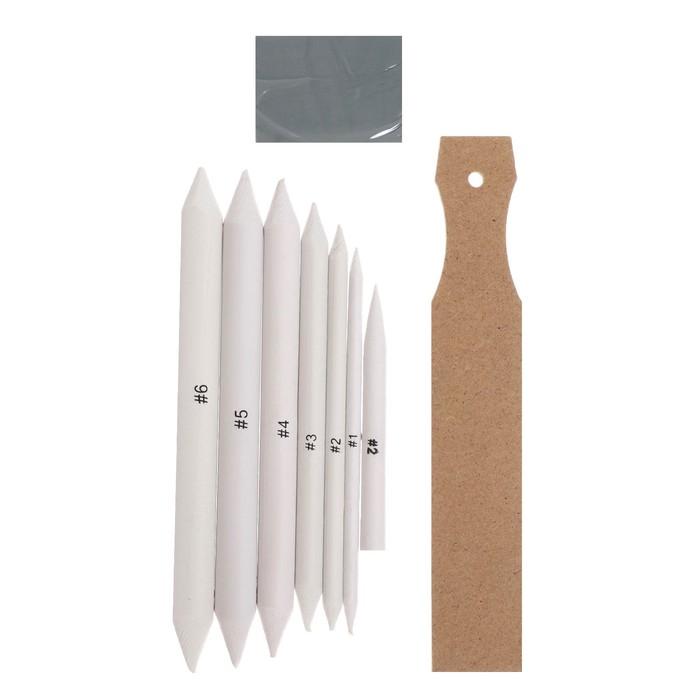 Набор инструментов для растушёвки, 8 предметов, 1 наждачка-12 листов, 1 ластик-клячка
