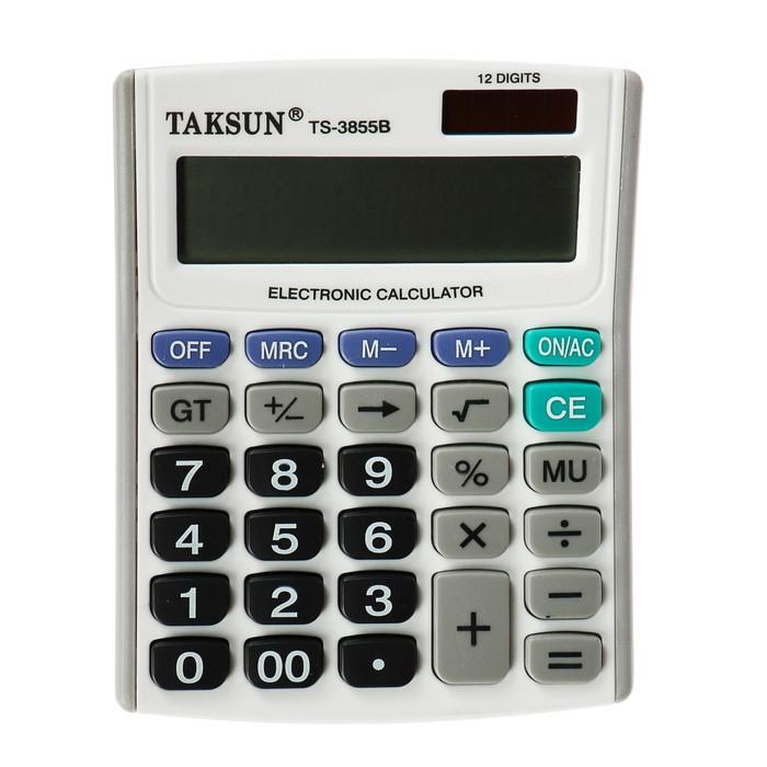 Калькулятор настольный, 12-разрядный, 3855B, двойное питание - фото 686338538