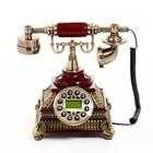 Телефон ретро полистоун. Коричневый на квадратной подставке с металлической резьбой 24*19 см 27126