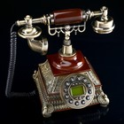 Phone retro Polyresin. Brown on a square stand with metal thread 24*19 cm 27126