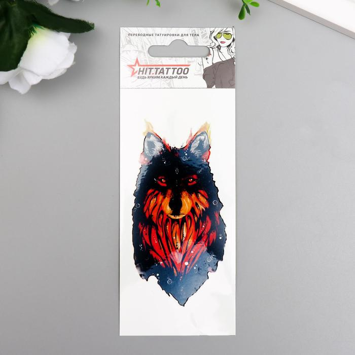 """Татуировка на тело """"Переводной волк"""" 5,6х12 см"""