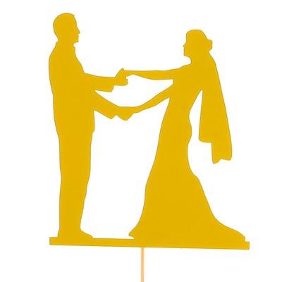 Топпер «Молодожёны», жёлтый, 10х11,5 см