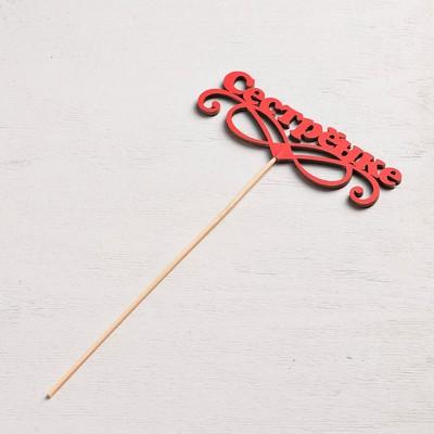 Топпер «Сестрёнке», красный, 12,5×4 см
