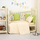 Бортики в кроватку 60x120 см жирафики, горошек на болотном, холлофайбер, хл 100%, перкаль 14   28697
