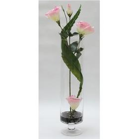 Декор.цветы Лизиантус розовый в стекл.вазе