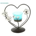 """Подсвечник голубой на 1 свечу """"3 цветка в сердце"""""""