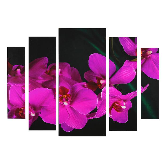 """Картина модульная на подрамнике """"Фиолетовая орхидея"""" 2-14*53, 2-21*69,5 1-34*79; 80*118см"""