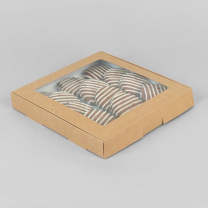 Коробка самосборная бесклеевая, крафт, 21 х 21 х 3 см - фото 308035292