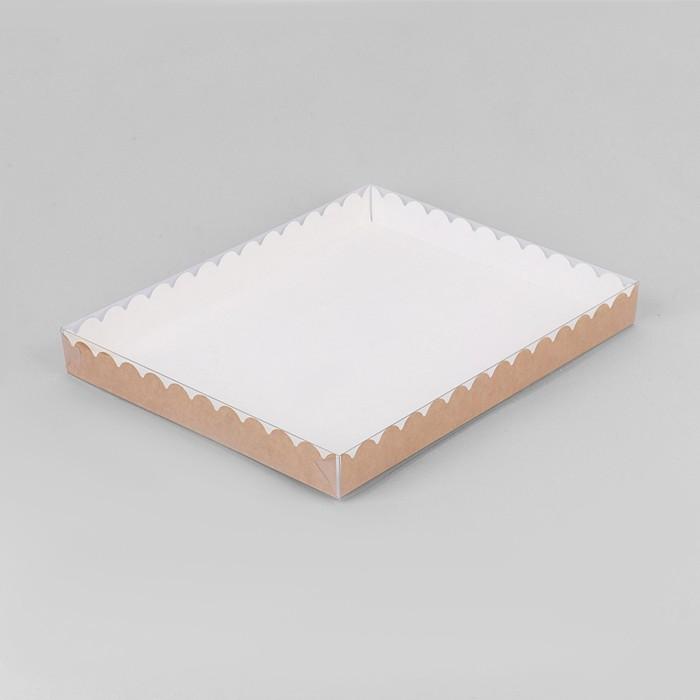 Коробочка для печенья с PVC крышкой, крафт 23,5 х 30 х 3 см - фото 308035562