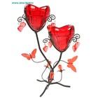 подсвечник металл 2свечи h=23 сердце бабочкии УЦЕНКА