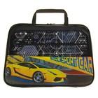 Папка для труда А4 с ручками, текстиль, ПВХ, 335*260*20 мм Yellow sports car