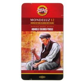 Карандаши акварельные набор 12 цветов, Koh-I-Noor Mondeluz 3722, в металлическом пенале