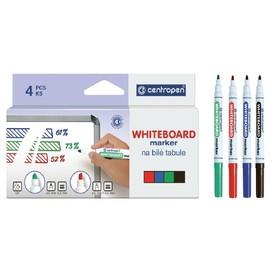 Centropen 8559 Whiteboard Marker Set, 4 colors, 2.5 mm, line