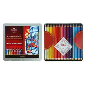 Карандаши художественные PolyColor 3826, 48 цветов, мягкие, в металлическом пенале