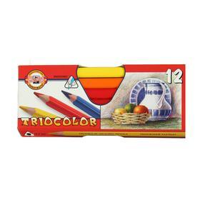 Карандаши 12 цветов, Koh-I-Noor Jumbo Triocolor, трёхгранные, картонная упаковка
