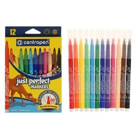 Фломастеры 12 цветов, Centropen 2510/12 Perfect, невысыхаемые, картонная упаковка, европодвес