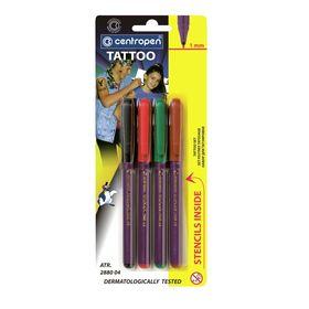 Фломастеры 4 цвета Centropen 2880/04 Tetovaci, для тату, 16 трафаретов, блистер, европодвес