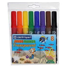 Фломастеры утолщенные 8 цветов Centropen Transparent 8580, линия 1-6 мм, длина письма 600 м