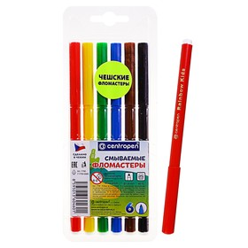 Centropen Washable 7790/06 washable felt-tip pens, 1.0 mm, 6 colors, in a blister.