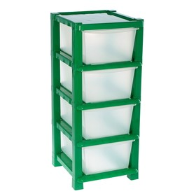 Комод 4 секции, цвет зелёный/прозрачный Ош