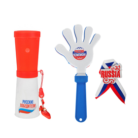 "A fan set ""Russia, forward!"": Dudka, ratchet, badge"