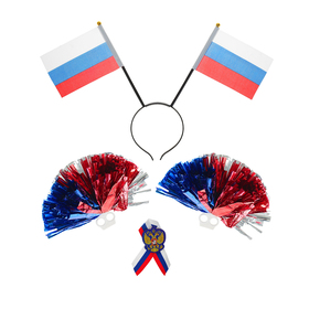 "A fan set ""We are invincible!"": bezel with flags, icon, POM-poms 2 PC."