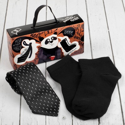 """Набор для мальчика """"Джентльмен"""" 3-6 лет, галстук 28 см, носки 14 р-р, п/э, черный/черный"""