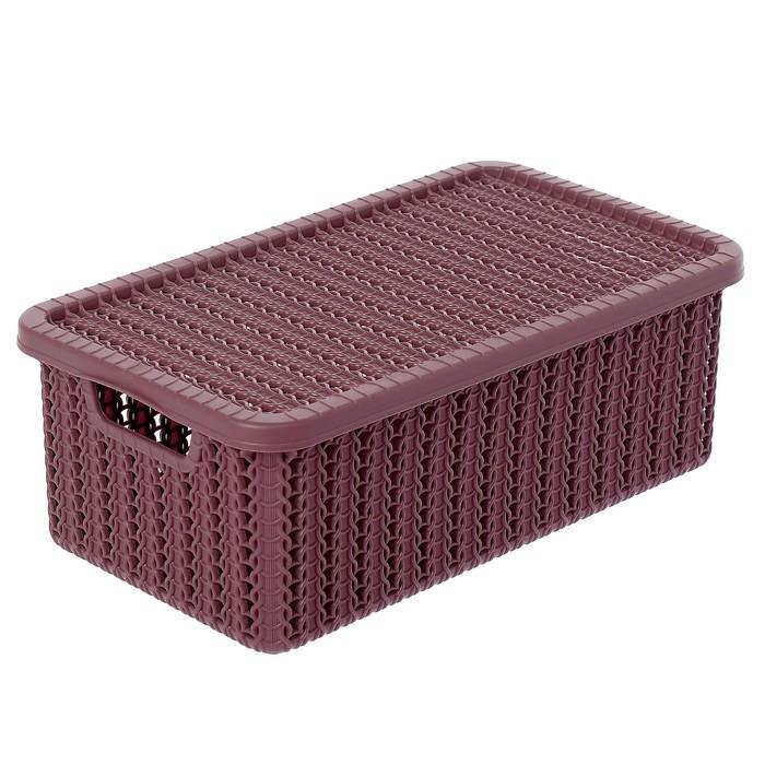 Коробка для хранения с крышкой «Вязание», 3 л, цвет пурпурный - фото 299068171