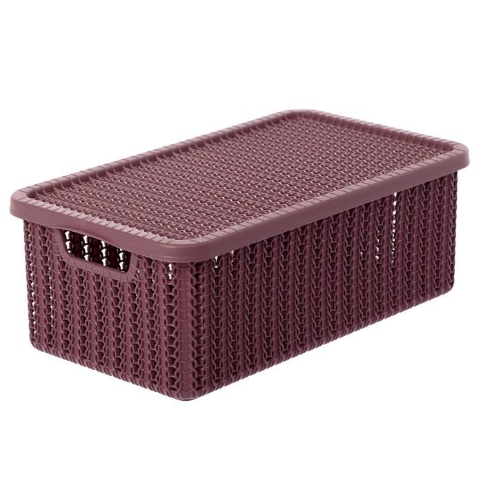 Коробка для хранения с крышкой «Вязание», 6 л, цвет пурпурный - фото 308327121