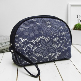 Cosmetic bag simple, division zipper, blue color