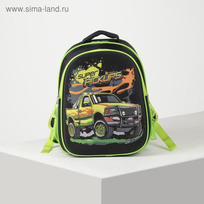 Рюкзак школ Авто, 29*15*40, отд на молнии, н/карман, 2 бок сетки, усил спинка, черн/зеленый 282616