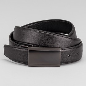 Ремень мужской, пряжка на прокол тёмный металл, ширина - 3,5 см, цвет чёрный