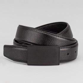 Ремень мужской, пряжка на прокол черный металл, ширина - 3,5 см, цвет чёрный