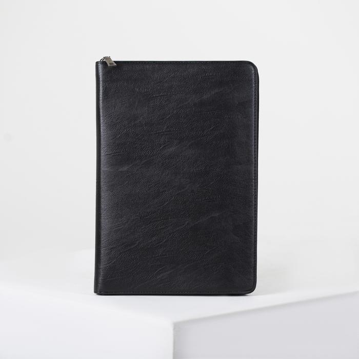 Папка деловая, отдел на молнии, с ручкой, цвет чёрный