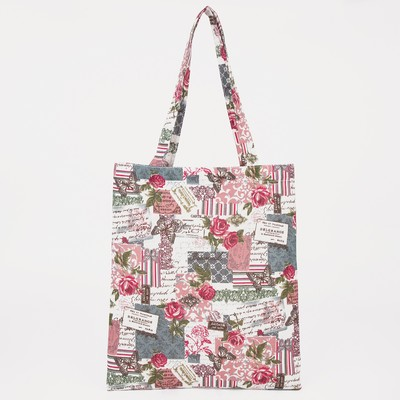"Bag textile ""Floral Paradise"", the zipper, no padding, color milk"