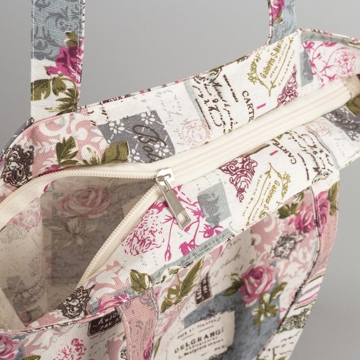 """Сумка текстильная """"Цветочный рай"""", отдел на молнии, без подклада, цвет молочный"""